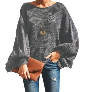 AGNIESKA Oversized Balloon Sleeve Sweater
